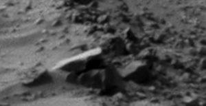 A closeup of the Masrtian cannon shooting Curiosity Rover
